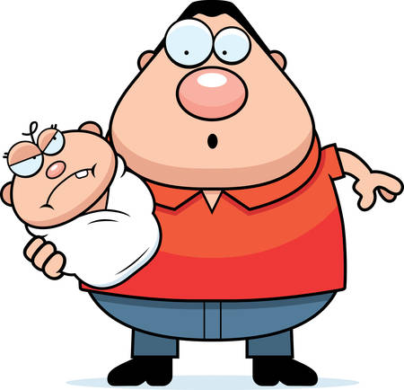 fussy: A cartoon illustration of a dad with an angry baby looking surprised.