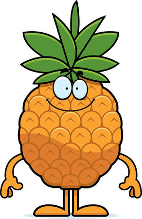 A cartoon illustration of a pineapple looking happy.