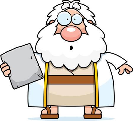 ten commandments: A cartoon illustration of Moses looking surprised.