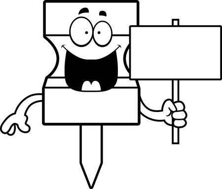 tack: A cartoon illustration of a pushpin holding a sign.