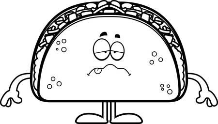 nauseous: A cartoon illustration of a taco looking sick. Illustration