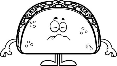 A cartoon illustration of a taco looking sick. Illustration
