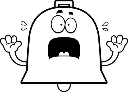 A cartoon illustration of a bell looking scared. 일러스트