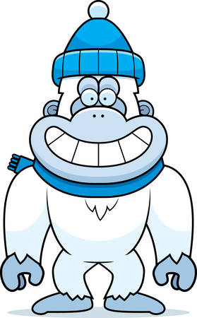 yeti: A cartoon illustration of a yeti wearing Winter clothes. Illustration