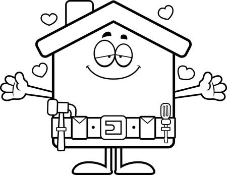 tool belt: A cartoon illustration of a home improvement house ready to give a hug.
