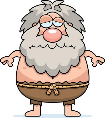 A cartoon illustration of a hermit looking sad.