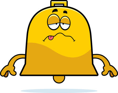 nauseous: A cartoon illustration of a bell looking sick. Illustration