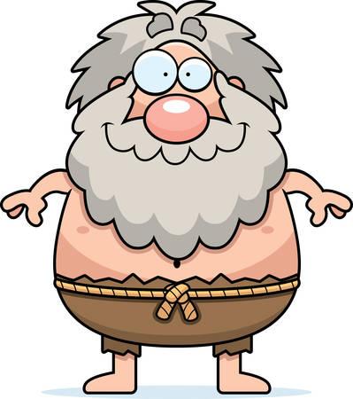 A cartoon illustration of a hermit looking happy. Illusztráció