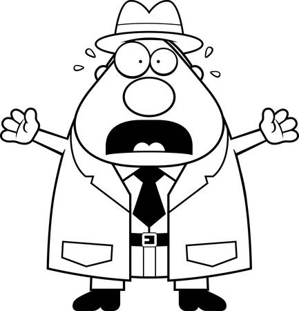 private eye: A cartoon illustration of a detective looking scared. Illustration