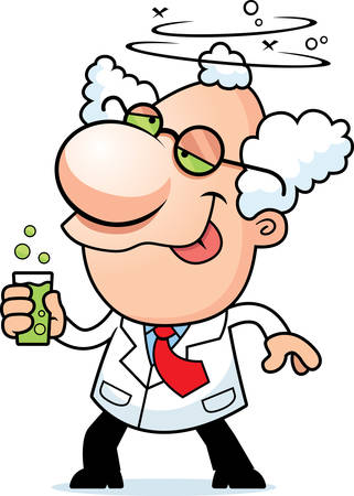 happy people: An illustration of a cartoon mad scientist drinking a bubbling drink. Illustration