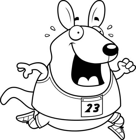 wallaby: A happy cartoon wallaby running in a race. Illustration