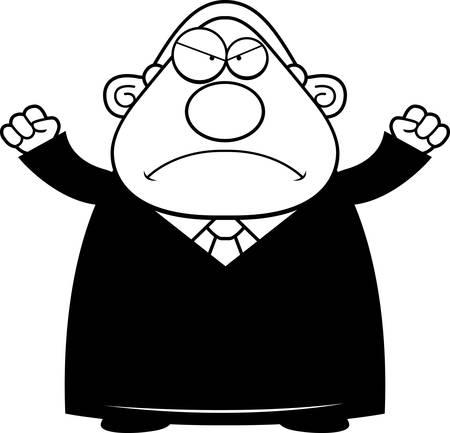 A cartoon illustration of a judge looking angry. Ilustração