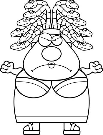 medusa: A cartoon illustration of Medusa looking angry. Illustration