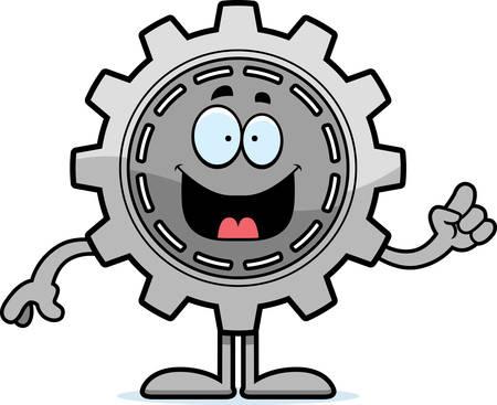 A cartoon illustration of a gear with an idea.