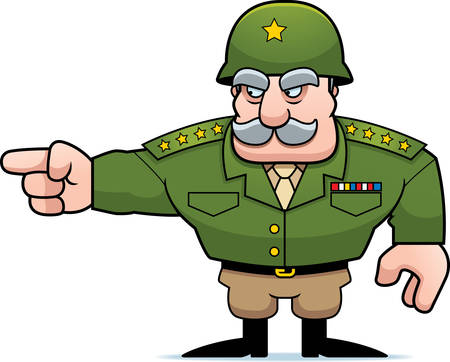 army helmet: An illustration of a cartoon military general pointing.