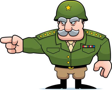 cartoon star: Una ilustraci�n de un se�alador en general militar de dibujos animados. Vectores