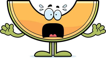 A cartoon illustration of a cantaloupe looking scared. 向量圖像