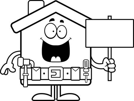 tool belt: A cartoon illustration of a home improvement house holding a sign. Illustration