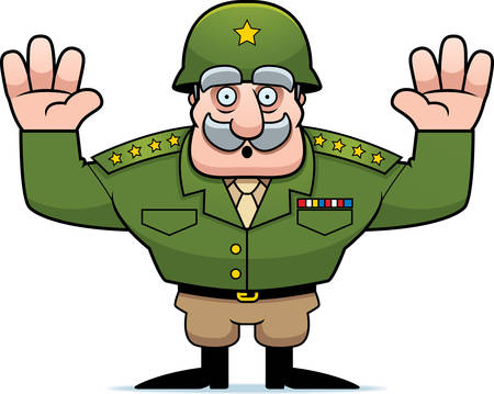 general: An illustration of a cartoon military general with hands in the air surrendering.