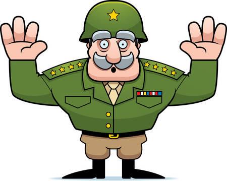 estrellas  de militares: Una ilustración de un general militar de la historieta con las manos en la rendición de aire. Vectores