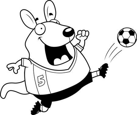 A cartoon illustration of a wallaby kicking a soccer ball. Illustration