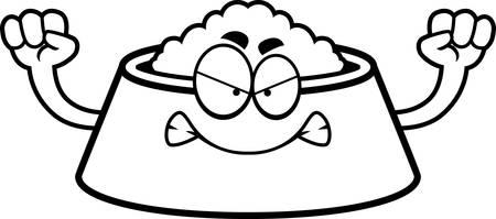 dog bowl: A cartoon illustration of a dog bowl looking angry.