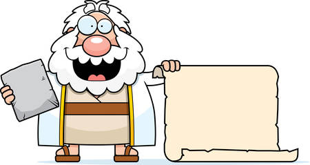 commandments: A cartoon illustration of Moses with a scroll.