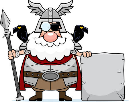 A cartoon illustration of Odin with a sign.
