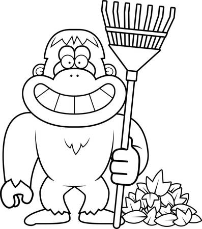 raking: A cartoon illustration of a yeti raking Fall leaves.