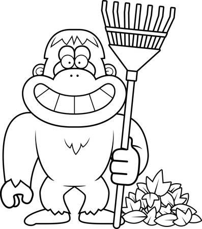 yeti: Eine Karikaturillustration eines Yeti Rech Herbst Bl�tter.