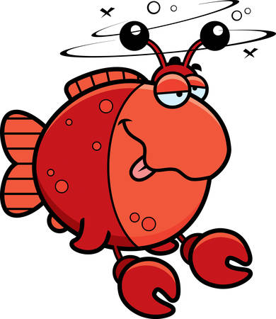 cartoon crab: A cartoon illustration of a fish dressed as a crab looking drunk. Vectores