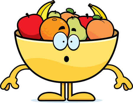 A cartoon illustration of a bowl of fruit looking surprised.