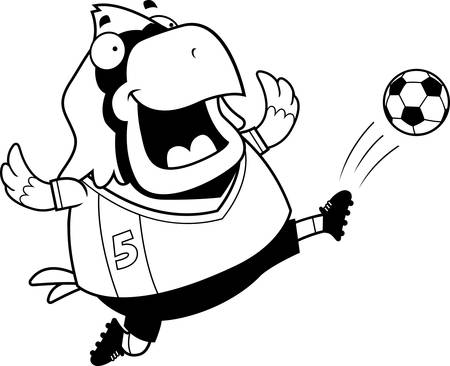 A cartoon illustration of a cardinal kicking a soccer ball.