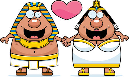 cleopatra: A cartoon illustration of a pharaoh and queen holding hands and in love.