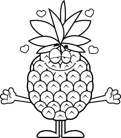 A cartoon illustration of a pineapple ready to give a hug. Ilustrace