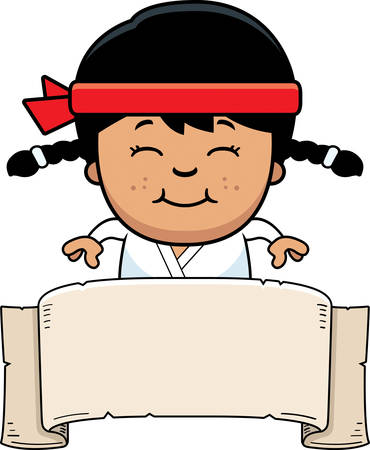 A cartoon illustration of a karate kid with a banner sign.
