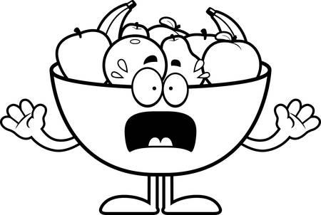 cartoon banana: A cartoon illustration of a bowl of fruit looking scared.