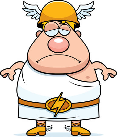 greek god: A cartoon illustration of the Greek god Hermes looking sad. Illustration