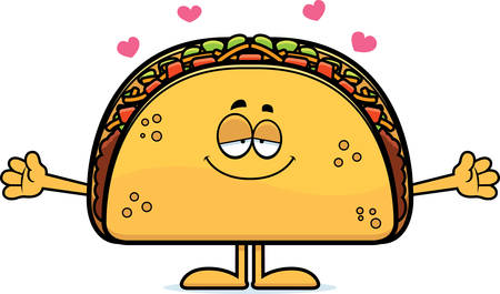 A cartoon illustration of a taco ready to give a hug. Stock Illustratie