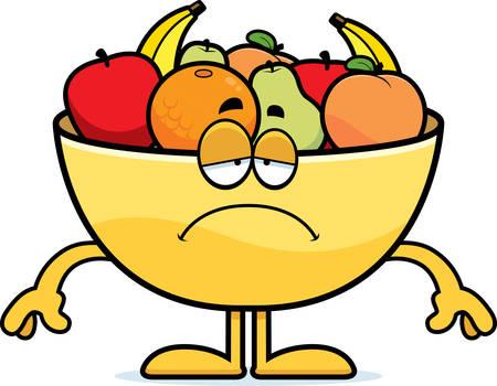 A cartoon illustration of a bowl of fruit looking sad.
