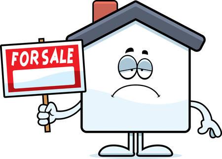 Een cartoon illustratie van een huis te koop op zoek verdrietig.