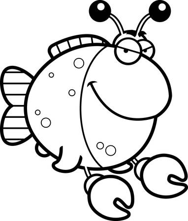 Een cartoon afbeelding van een vis gekleed als een krab met een sluwe uitdrukking.
