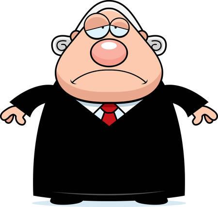 A cartoon illustration of a judge looking sad. Ilustração