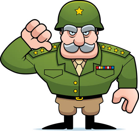 An illustration of a cartoon military general giving a thumbs down sign.