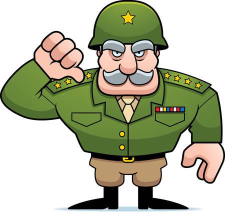 Una ilustración de un general militar de dibujos animados dando un signo de los pulgares hacia abajo.