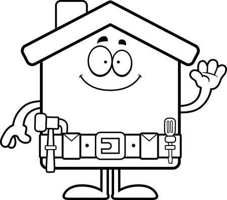 home improvement: A cartoon illustration of a home improvement house waving.