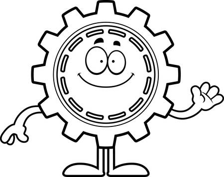 A cartoon illustration of a gear waving.