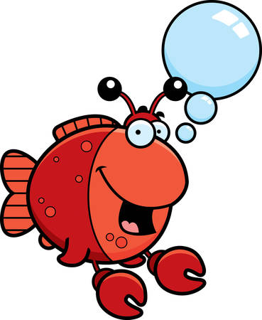 A cartoon illustration of a fish dressed as a crab talking.