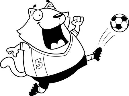 A cartoon illustration of a cat kicking a soccer ball.