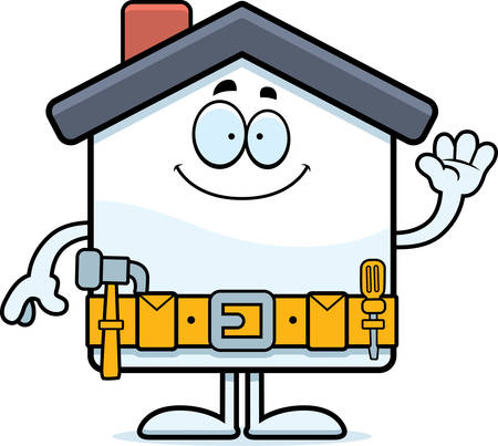 A cartoon illustration of a home improvement house waving.